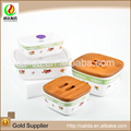 Wholesale colorful made squre design home used eco-friendly porcelain ceramic bowl with lid