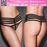 China wholesale Black Shiny Caged Sheer Mesh men wearing ladies underwear