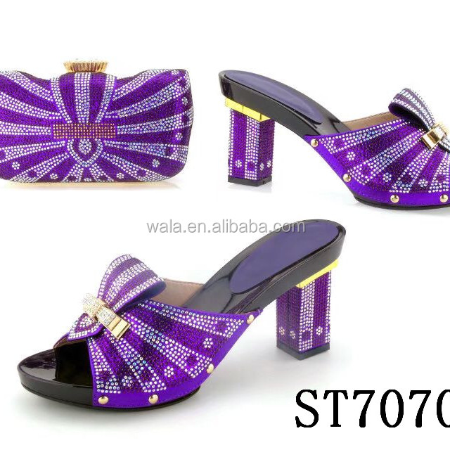 ST70708 purple color Italian fashion matching shoes and bag set for lady party