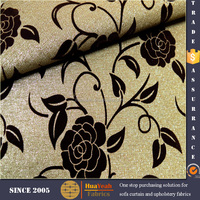 floral flocking linen look microfiber upholstery fabric