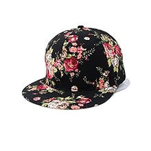 Women's Floral Flower Snapback Hip-Hop Cap Baseball Hat Headwear