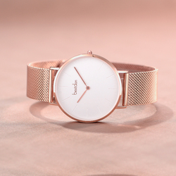 Minimalist custom logo mesh wrist watch women