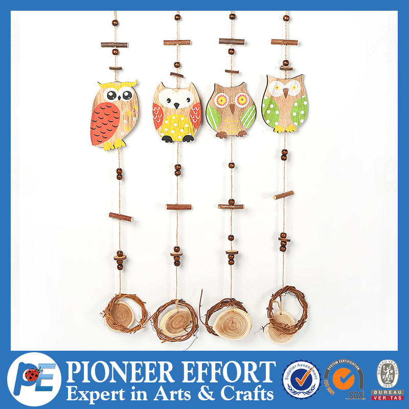 Wooden Owl in Different Color and Design Hanging Ornament for Spring Decoration