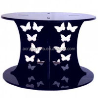 Single Tier Black/White Acrylic Butterfly Design Cake Stand