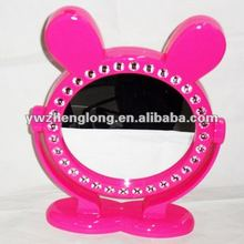 fashion rabbit-shaped double sided plastic table style cosmetic mirror with plastic diamond