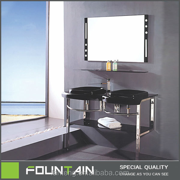 Unique Design Bathroom Double Sink 304 Stainless Steel Support Bathroom Glass Pedestal Sink
