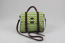 popular high quality green chevron printed 14oz canvas top handle bag with strap