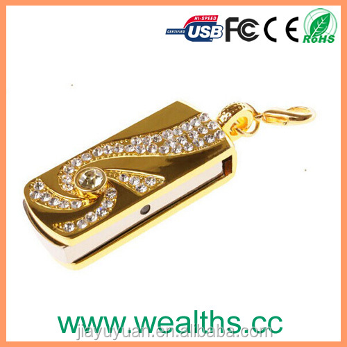 Metal Crystal Gold Stainless steel rotary Key Chain USB 2.0 Flash Drive 8GB 16GB 32GB Memory Stick