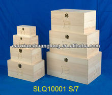 new designed unfinished eco-friendly large wooden storage box with carved alphabet letters for holiday promotion