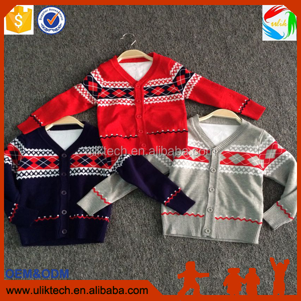 2016 kids clothes hand made sweater hot selling in India boutique designs children knit sweater for Christmas