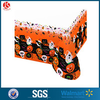 Halloween Orange Oblong Tablecloth Flocked Spider Web Plastic PE Material Vinly Table Cover