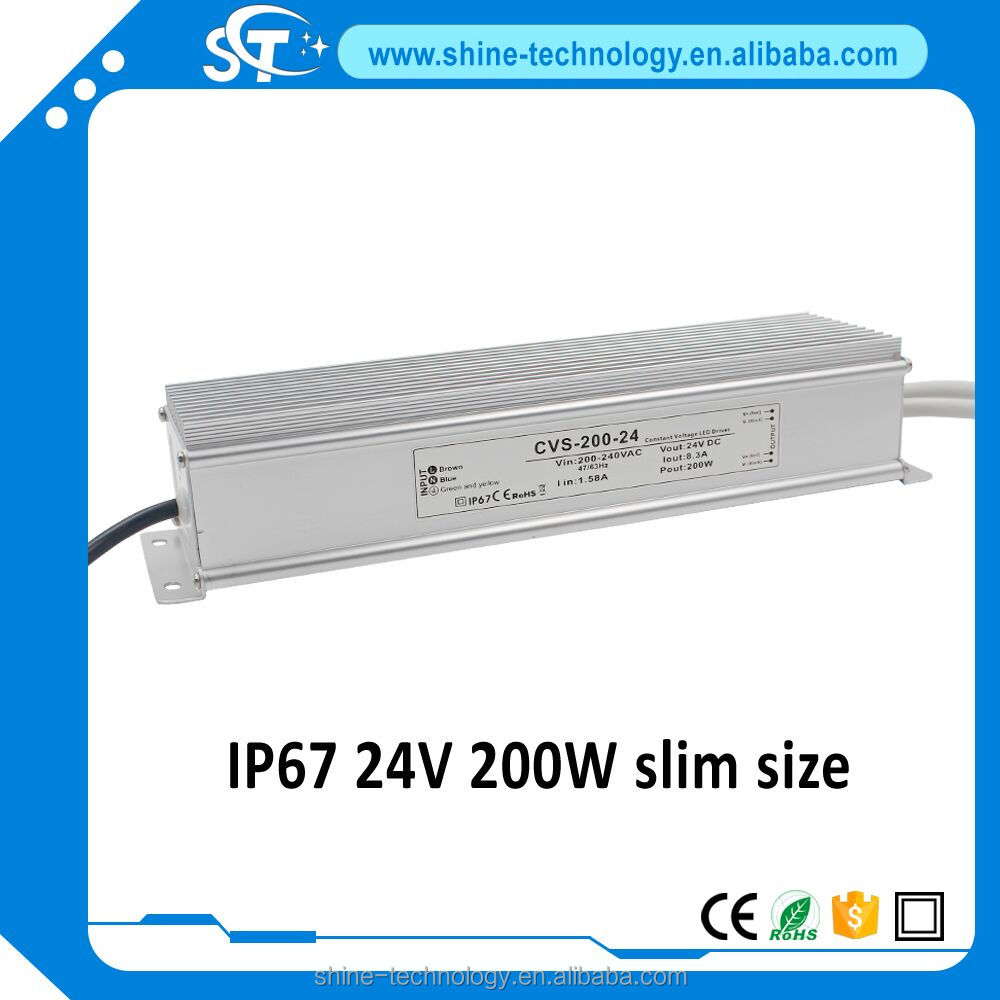 High quality small size 24v 8a 8.3a 200w waterproof led switching driver power supply