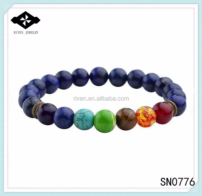 SN0776 Lapis Bracelet for Men 7 chakra Beaded Mala yoga Bracelet Uniqur Lapis beaded man Mala Bracelet.jpg
