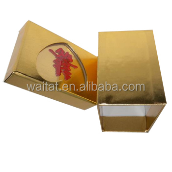 Customized Golden Rectangular Shape Wedding Gift Box