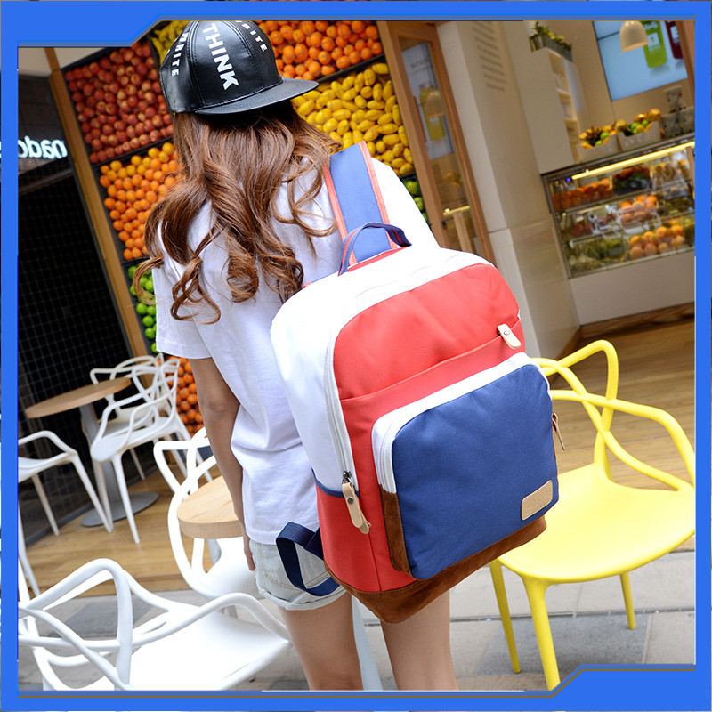 Hot Sale School Backpacks for University Students Colourful Korean Type Canvas Backpacks Bags