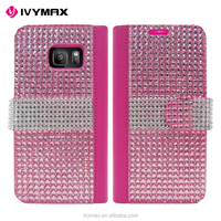 IVYMAX 2016 lady style diamond bling leather wallet case for samsung galaxy S7/G930