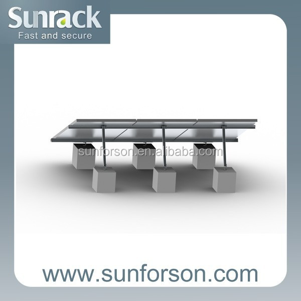 Solar racking system SFS-FR-01flat rooftop panel installation with all aluminum mounting brackets