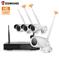Zgwang 4CH 2 Megapixels 1080P HD IR Cut Night Vision Outdoor P2P Home Security Surveillance CCTV Wireless Camera System