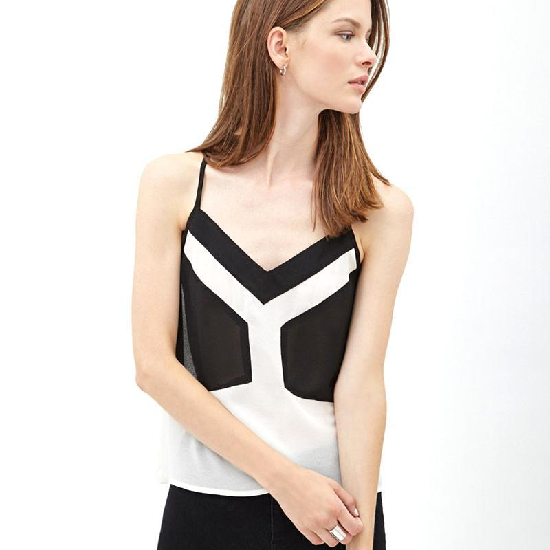 Selling 2015 hit black and white color stitching was thin and sexy deep V-neck strapless chiffon vest adjustable straps