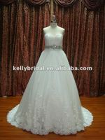 newest applique lace with beading sash bridal gown wedding dress style CAS001