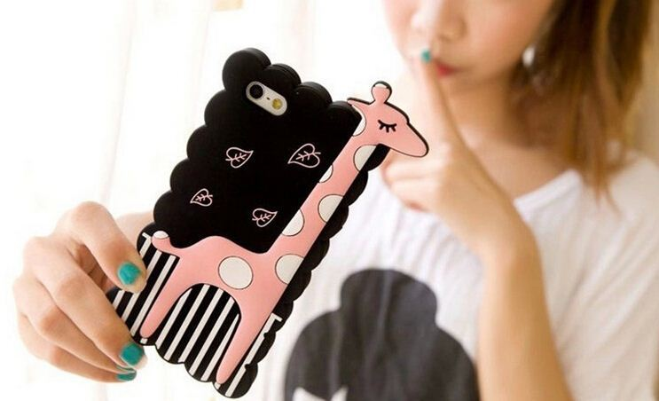 3D Lovely Cartoon Cute Giraffe Silicone Case For Apple Iphone 4s 5 5S Soft Rubber Mobile Phone Bag Cover