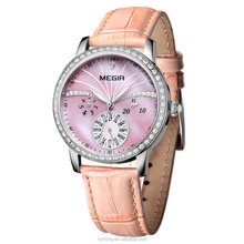 Megir Luxury Week Date 24 Hours Luminous Rhinestone Genuine Leather Strap Women Watches Clock Time Lady Fashion Relogio Feminino