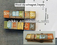 VINTAGE COLORFUL LETTERS DESIGNS S/3 BEACH THEME WOODEN PEGS WITH MAGNET