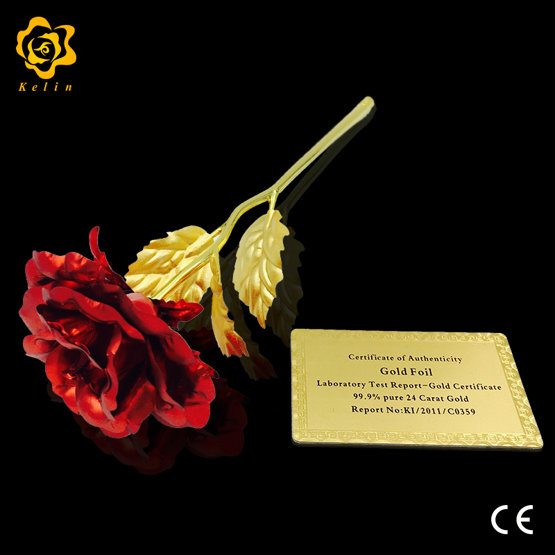 25cm resin crafts decoration for jewelry Store 24K gold color foil Red <strong>metal</strong> rose