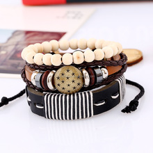 Adjustable size handmade braid pull string vintage wood bead leather bracelet with alloy button decor wholesale