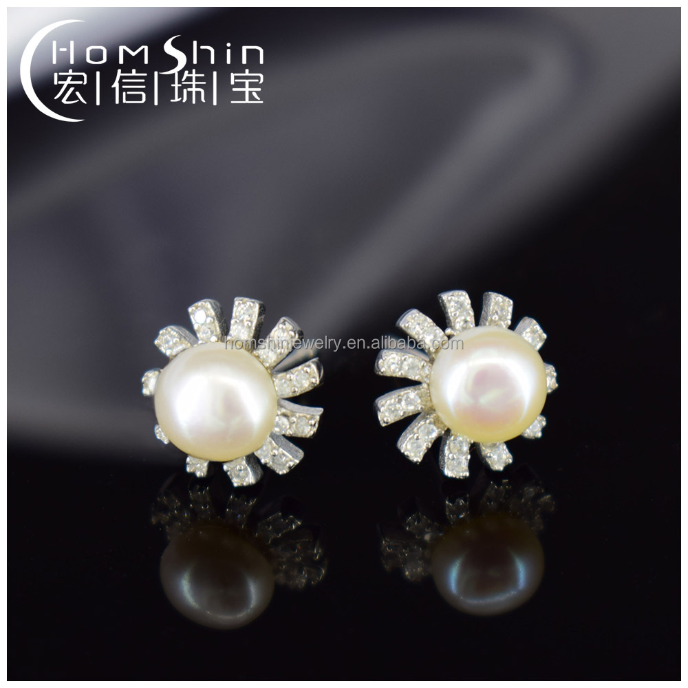 Sun flower silver earring ,925sterling silver CZ earring with pearl,lovely style wholesale jewelry