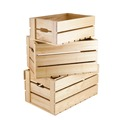 Set of 3 unfinished wooden storage crate for collection of vegetables and fruits
