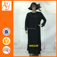 Black long sleeve dubai abaya importer baju muslim abaya collection with beading