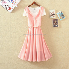 2016 new summer Korean round neck pleated chiffon A-line dress,fake two pieces shortsleeved chiffonwomen fashion dress
