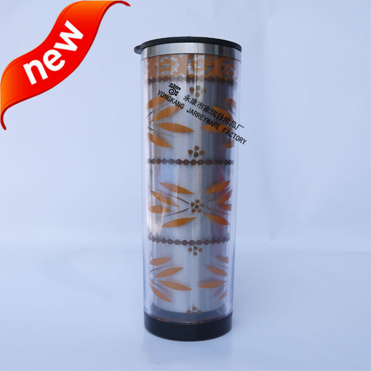 glitter paper insert plastic promotional mug with different size