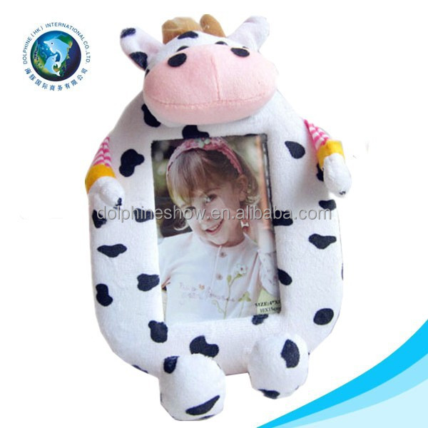 Various animal toy plush stuffed soft cow toy baby picture photo frame wholesale