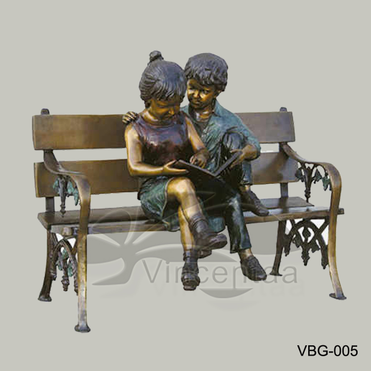 Popular Designs Life Size Bronze Boy and Girl Reading Book on Bench Statue