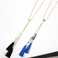 Fashion Natural Stone Bule Tassel Necklace