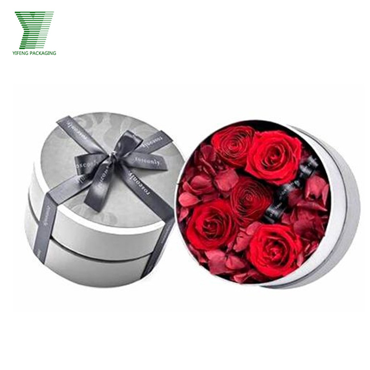 wholesale cardboard Cusomise round white gold logo cardboard flower boxes supplier