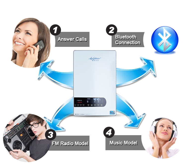 2016 Hot Sale Bluetooth Touch Portable Tankless Instant Portable Electric Water Heater for Hot Shower