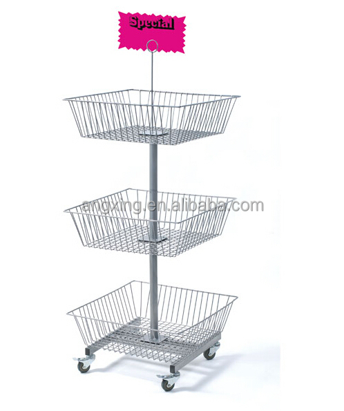 3 Tiers Square Basket <strong>display</strong> for candy counter <strong>display</strong> rack