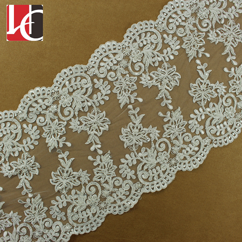 HC-2244-1 Hechun Pure White Embroidery Beaded Wide Lace Bridal Trim