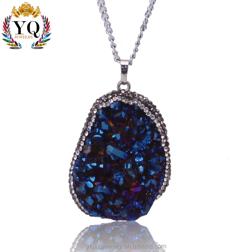 PYQ-00125 natural agate slice pendant chips' edge jewelry necklace crystal druzy agate pendant necklace