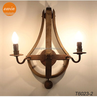 Loft industrial wood wall sconce 2-lights antique wrought iron wall lamp wtih ul/CE W6023-2