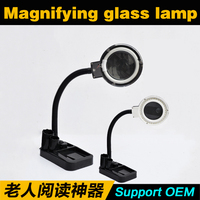Multifuctional led magnifying lamp industrial stand table magnifying glass with light head