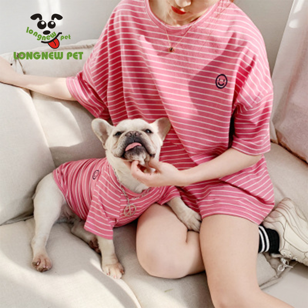 Summer Stripe Matching Pet and Owner T-shirts Vest <strong>Dog</strong> And Human Clothes Set