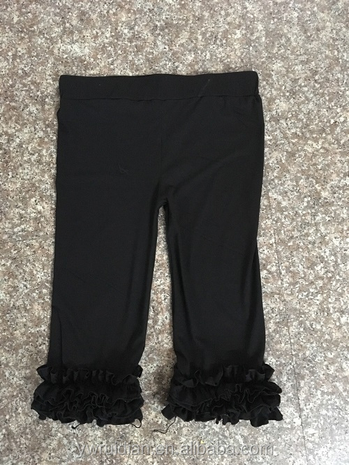 new arrival Autumn ruffle icing pants wholesale children ruffle stain capris teenage boutique pants hot sale kids trousers