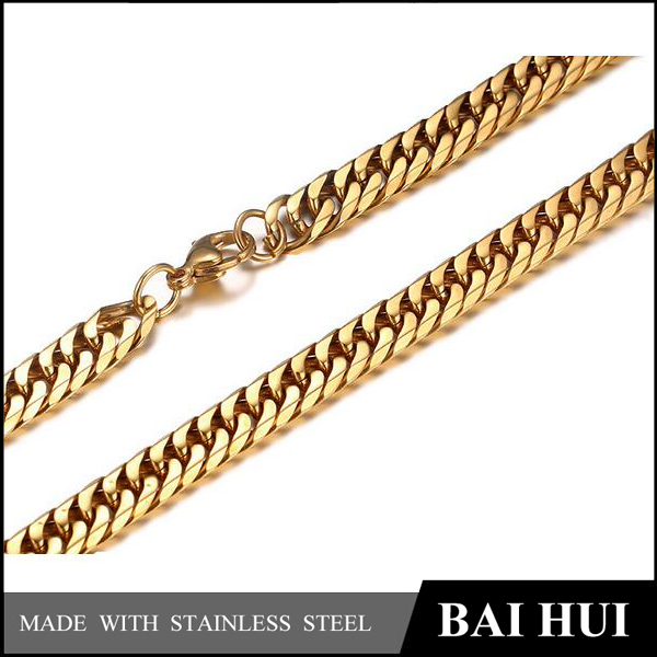 Baihui Jewelry-7.5MM Men's Heavy 18k Gold Curb Chain Necklace/Heavy Hip Hop New Gold Chain Design For Men