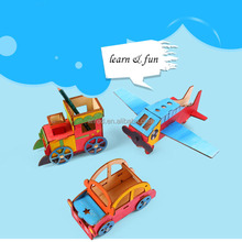 Kid DIY Paint Wooden Car Plane Train Toy Wood Pencil Sharpener Kids Wheels Toy Car