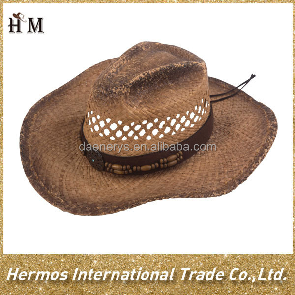 Hot sale western mans straw paper foam cowboy hat wholesale made in China