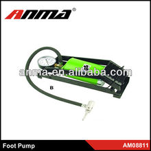 Hot sell high quality metal foot pump with tire gauge for bicycle motorbike hydraulic foot lift pump